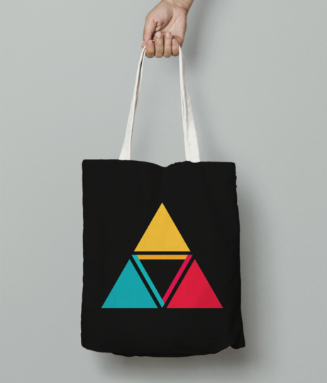 Colorful triangles tote bag front