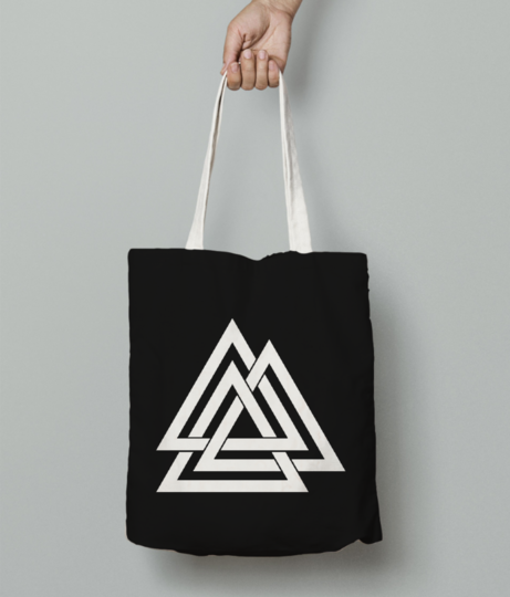 3 line triangle tote bag front
