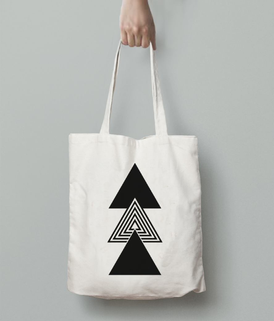 Abstract three triangles tote bag back