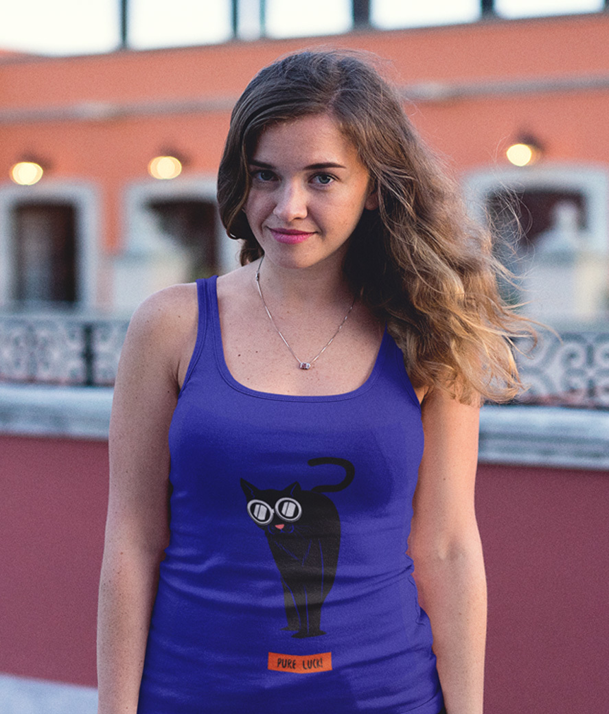 Trendy girl wearing a tank top mockup on a colorful rooftop a12202
