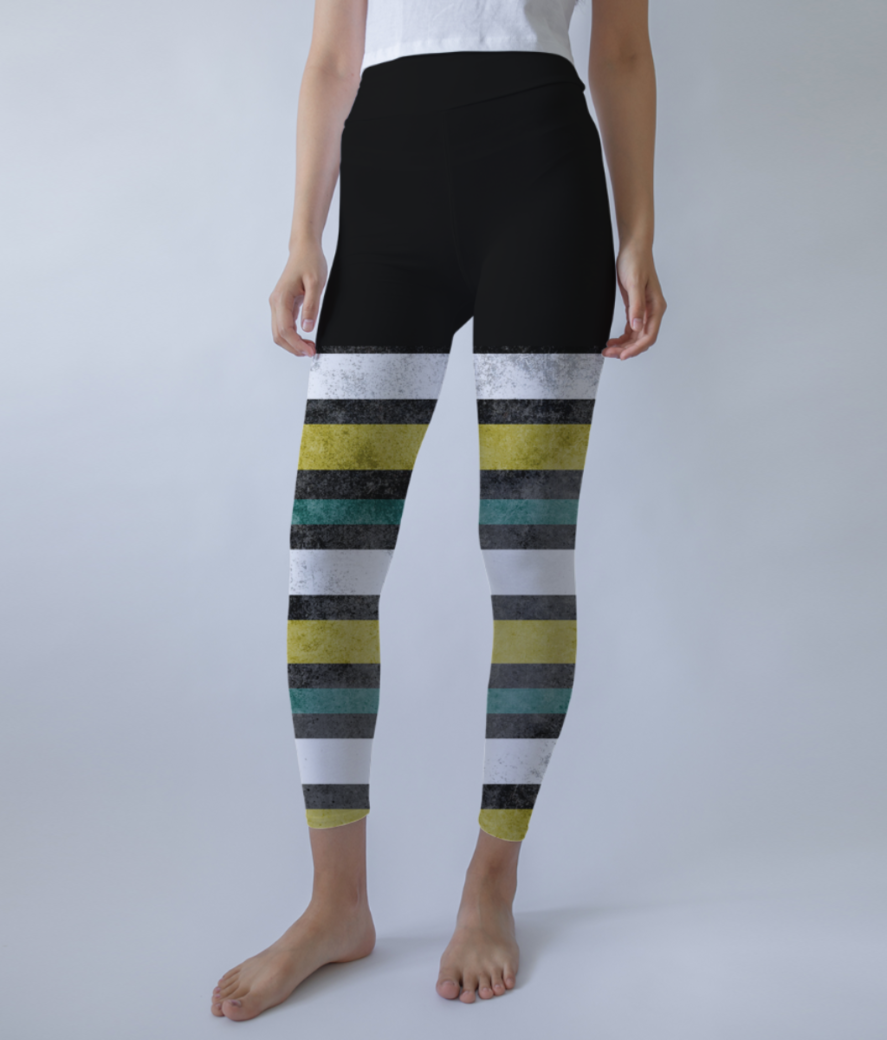 Grunge stripes leggings front