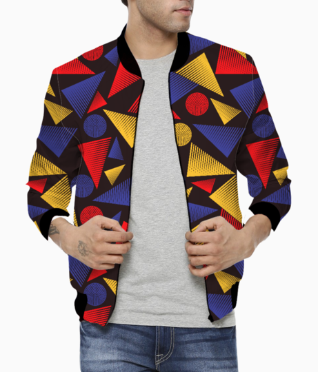 Trendy striped triangles bomber front