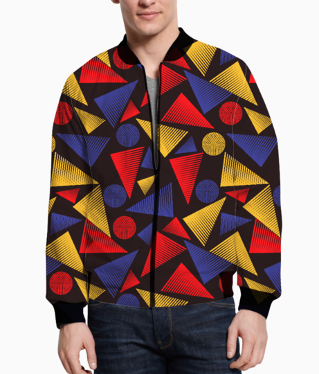 Colorful trendy triangle bomber front