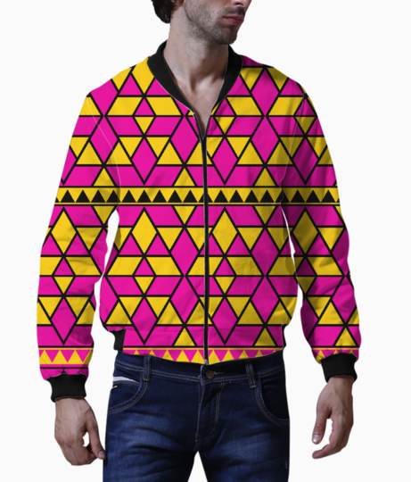Pink yellow triangles bomber front