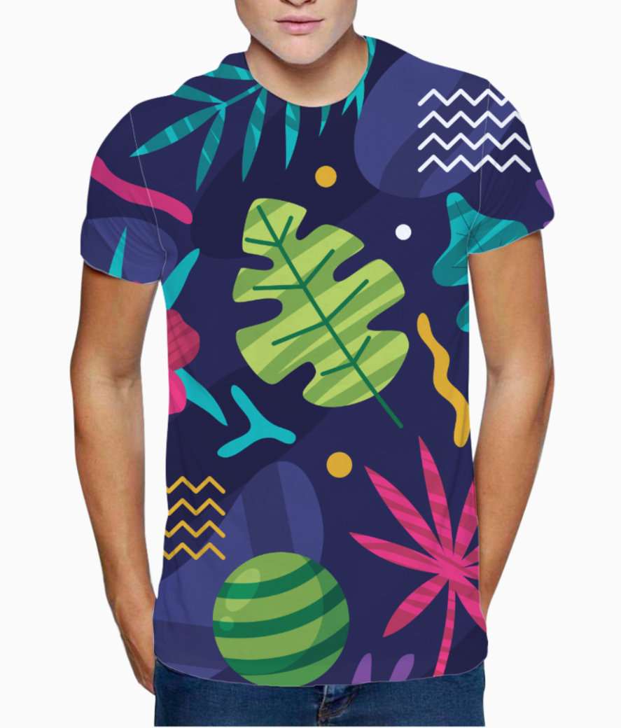 Tropical pattern t shirt front