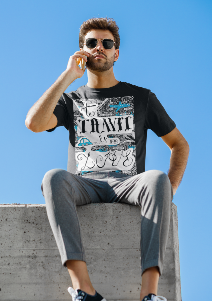 T shirt mockup of a man sitting on the edge of a roof 46604 r el2