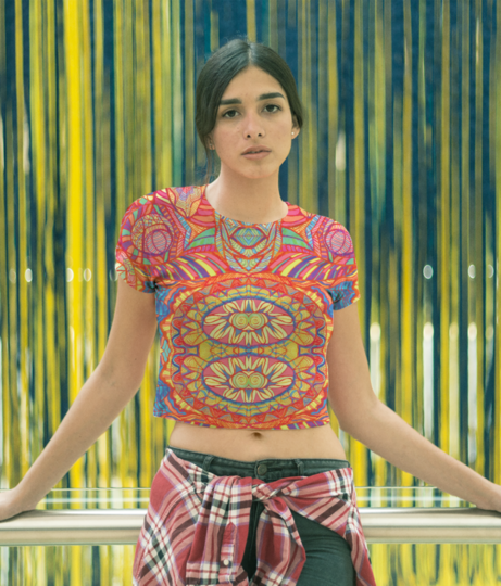 Abstract flower crop top front