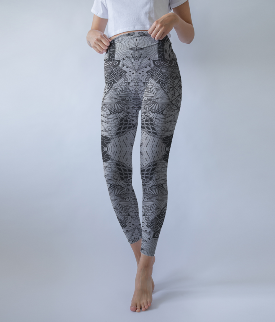Abstract lines leggings front