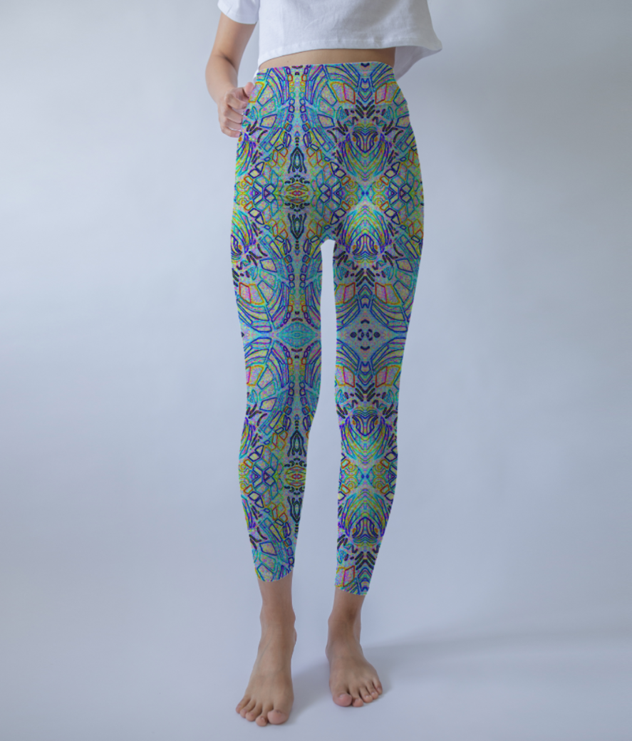 Blue hearts leggings front