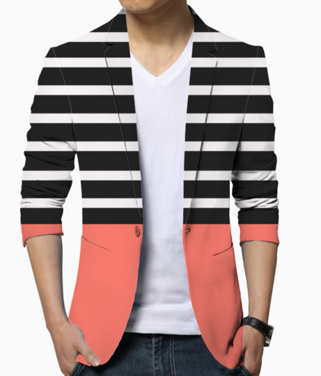 Black   white stripes with living coral patch blazer front