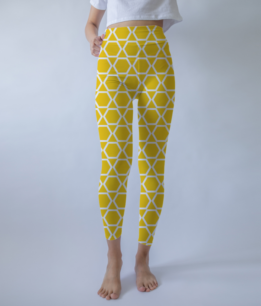 Yellow  islam art leggings front