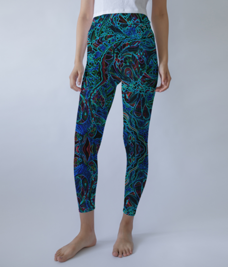 Abstract fire blue leggings front