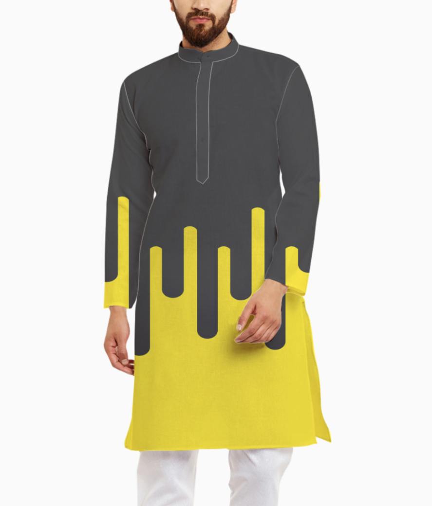 Lemon ice melting ice cream kurta front