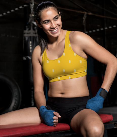 Yellow tribe sports bra front