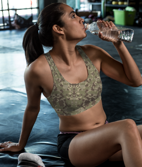 Camou sports bra front