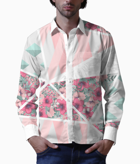 Abstract patchwork basic shirt front