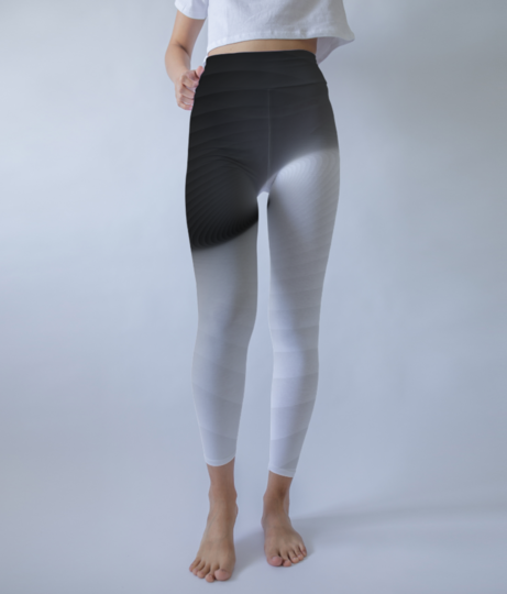 Abstract white   black background leggings front