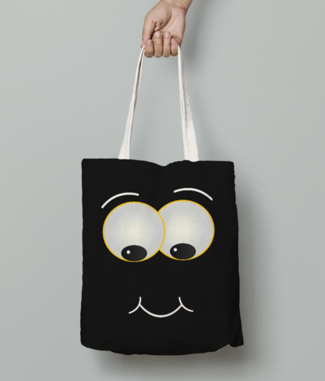 Smiling puffy tote bag front