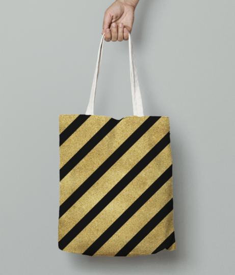 Classic cross gold glitter stripes tote bag front