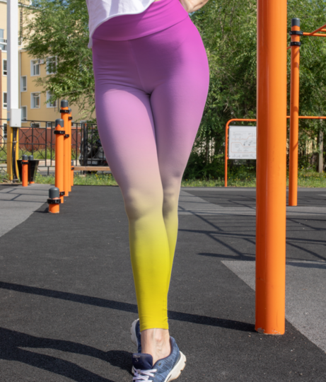 Pink to yellow gradient background leggings front