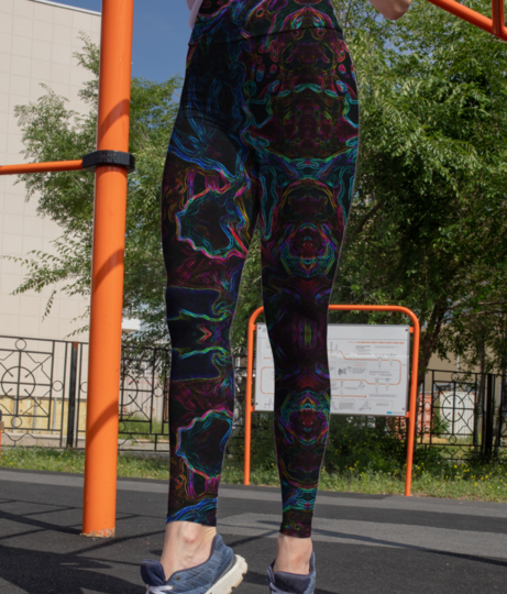 Abstract jungle hilight 2 leggings front