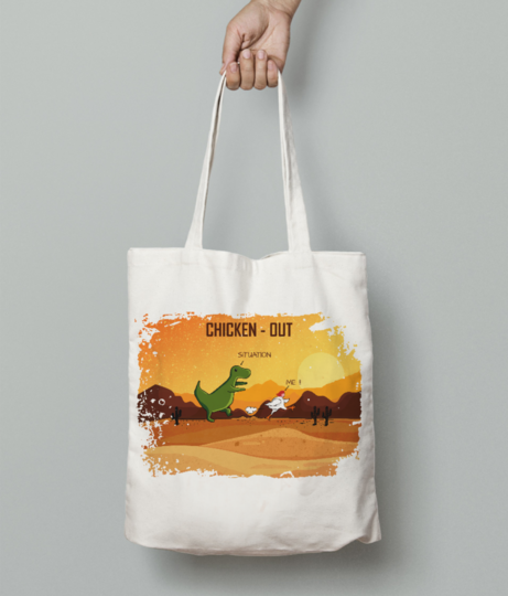 Chicken out 10 tote bag front