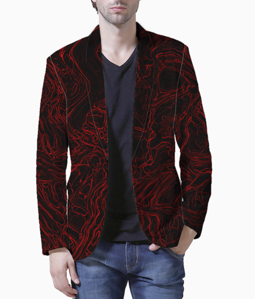 Red waves blazer front