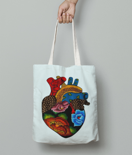 Heart with flowers tote bag front