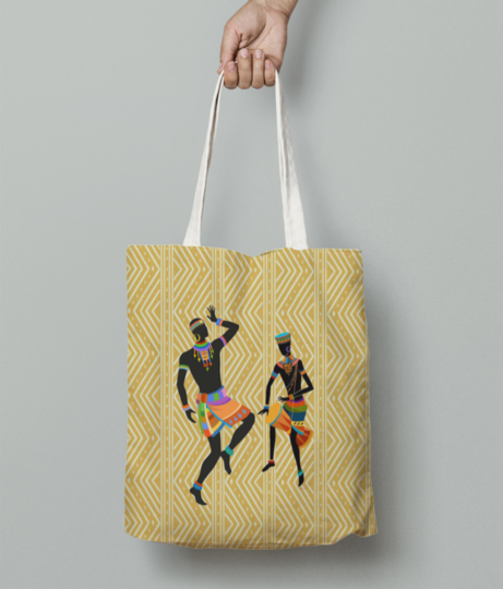 Ethnic dancing tote bag front