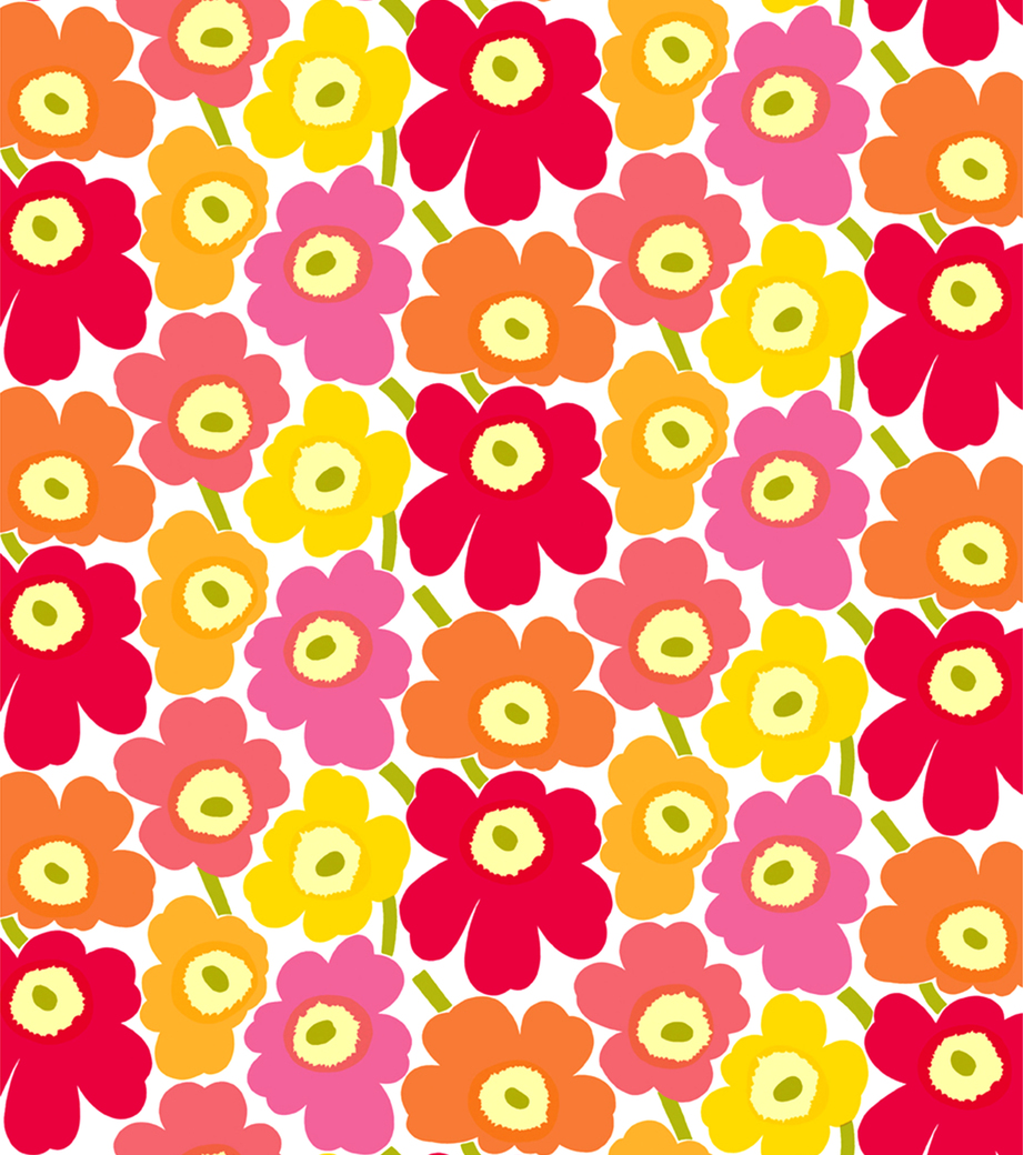 Marimekko pieni unikko 2 yellow orange pink fabric 22