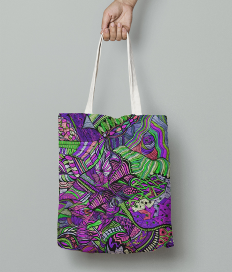 Abstract kaleidescope purple 1 tote bag front