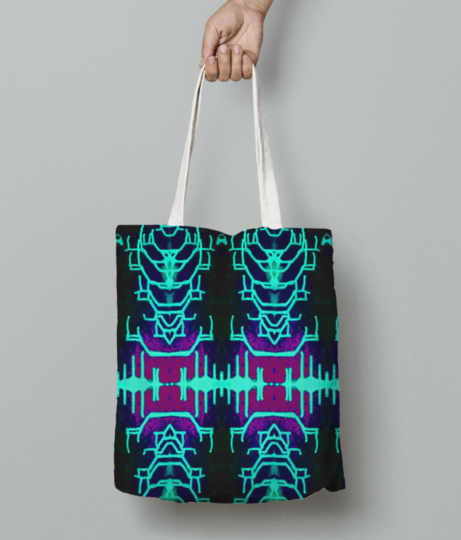 Neon invasion tote bag front
