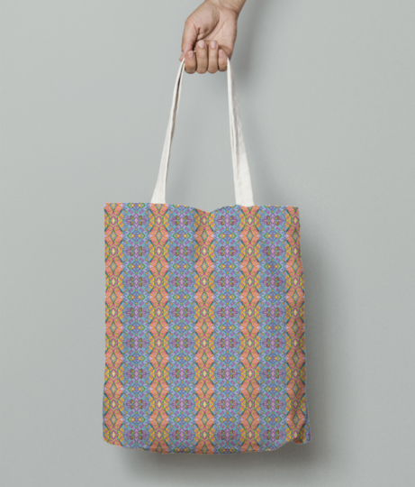 Peachy blue tote bag front