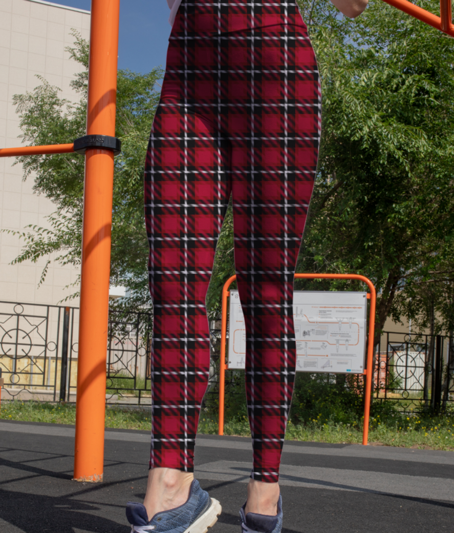 Red scottish tartan leggings front