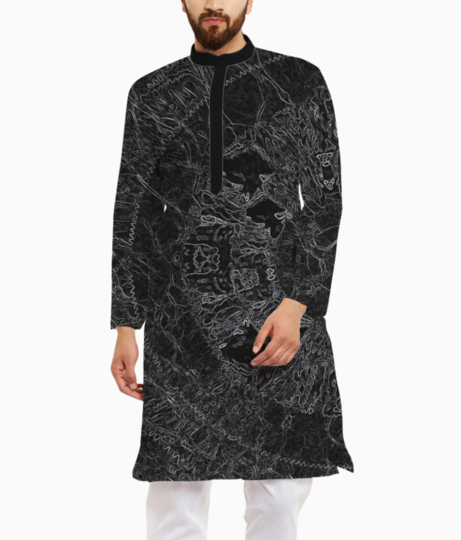Abstract blues hues kurta front