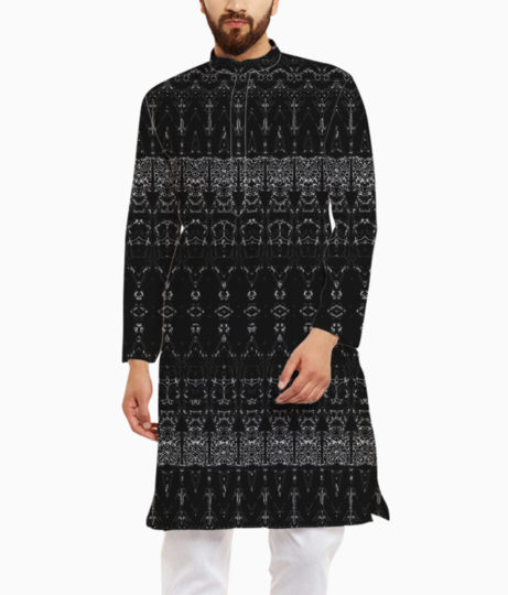 Abstract bullet orange kurta front