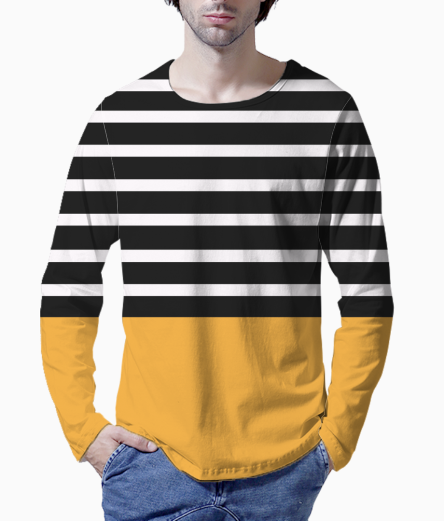 Black   white stripes with honey patch henley front