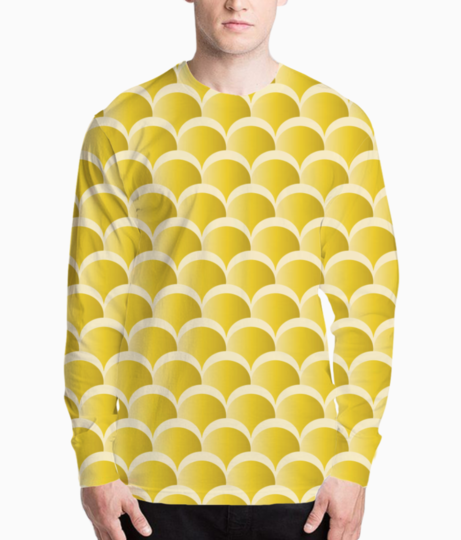 Yellow mermaid pattern henley front