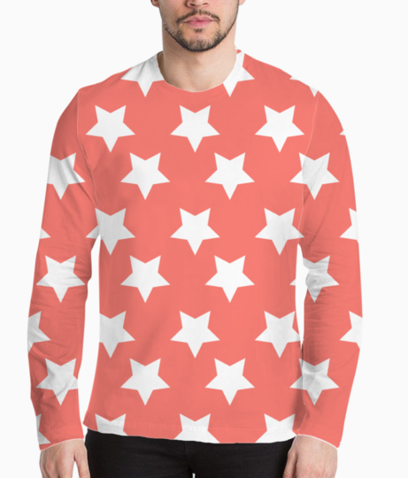 Living coral  white stars 01 henley front