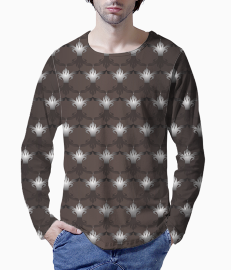 Islamic art black brown pattern background henley front