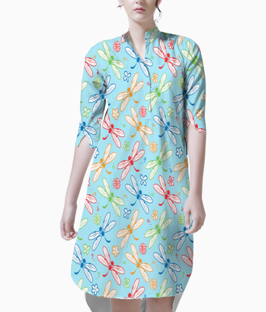 Colorfull dragon fly  blue kurti front