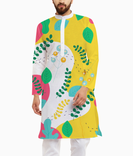 Abstract floral pattern kurta front
