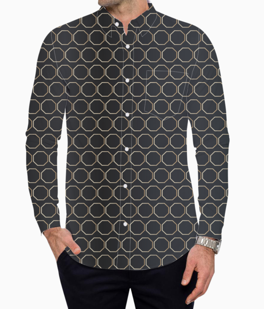 Black honeycomb basic shirt front