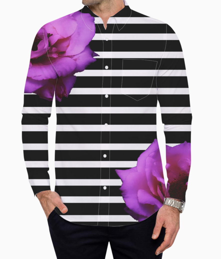Black stripes with roses basic shirt front