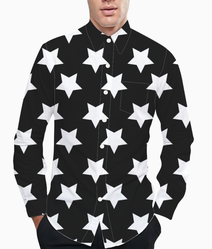 Black  white stars basic shirt front