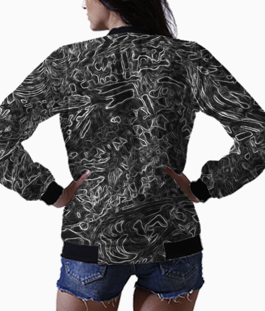 Abstract aqua red bomber back