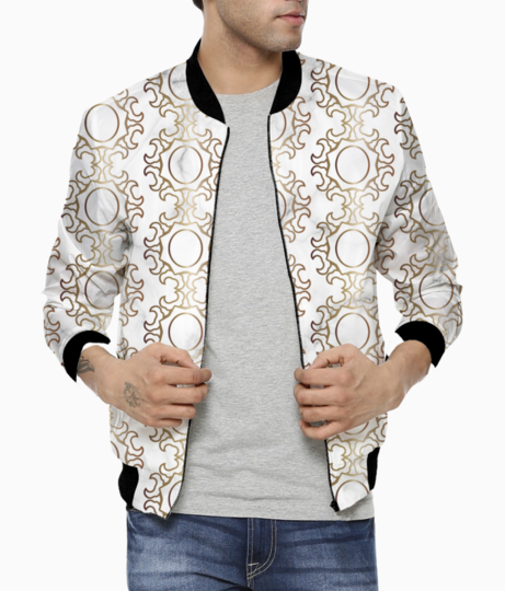 Arabic ethnic pattern gold style bomber front