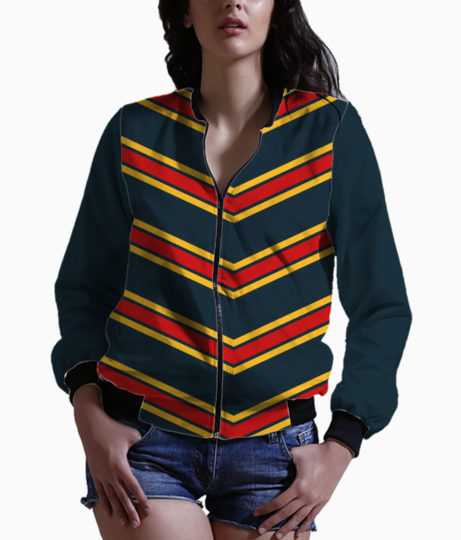 Red   yellow chevrons bomber front