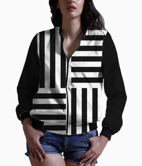 Vertical and horizontal stripes bomber front