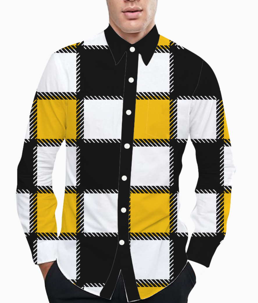 Yellow monochrome checks basic shirt front